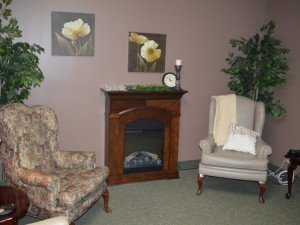 Cobden retirement home room and fireplace