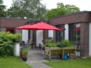 Outdoor dining and seating area at the back of building, with raised flower beds and red umbrellas