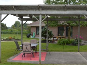 Outside patio and seating area with gazebo