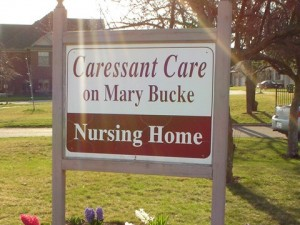 Caressant Care on Mary Bucke Nursing Home sign